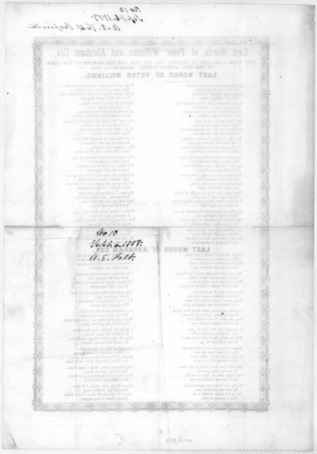 Last words of Peter Williams and Abraham Cox, who were executed at Auburn, Aug. 27th, 1858, for the murder of the crew of the Brig Albion Cooper.- Rhymed by O. K. Yats. [n. p.] [c. 1858].