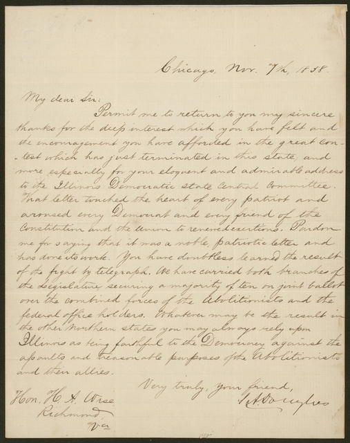 Letter to Hon. Henry A. Wise from S. A. Douglas, November 7, 1858.