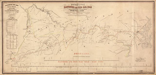 Map and profiles showing the Baltimore and Ohio Rail Road with its branches and immediately tributary lines, 1858; compiled and drawn by L. Jacobi C.E. Baltimore.