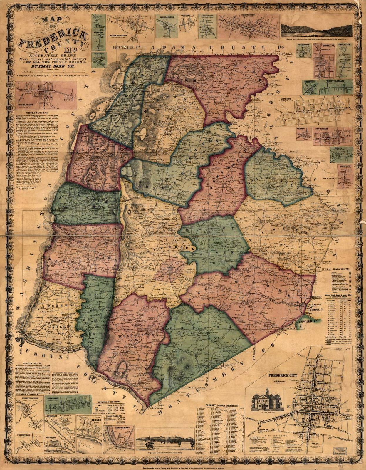 Map of Frederick County, Md. accurately drawn from correct instrumental surveys of all the county roads,
