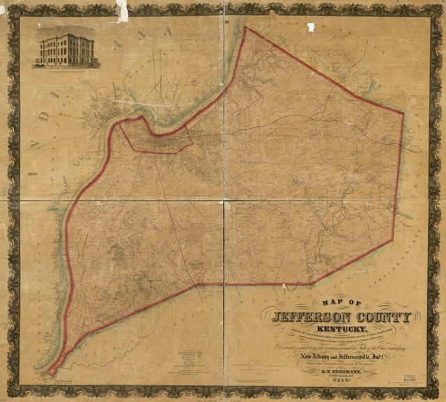 Map of Jefferson County, Kentucky : showing the names of property holders, division lines of farms, position of houses, churches, school-houses, roads, water-courses, distances, and the topographical features of the county : distinctly exhibiting the country around the falls of the Ohio, including New Albany and Jeffersonville, Inda. /