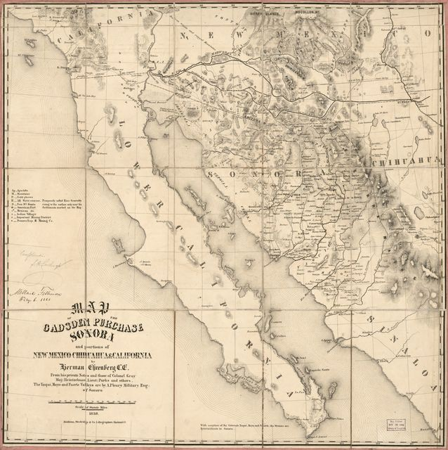 Map of the Gadsden Purchase : Sonora and portions of New Mexico, Chihuaua & California /