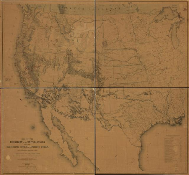 Map of the territory of the United States from the Mississippi River to the Pacific Ocean; ordered by Jeff'n Davis, Secretary of War to accompany the reports of the explorations for a railroad route.