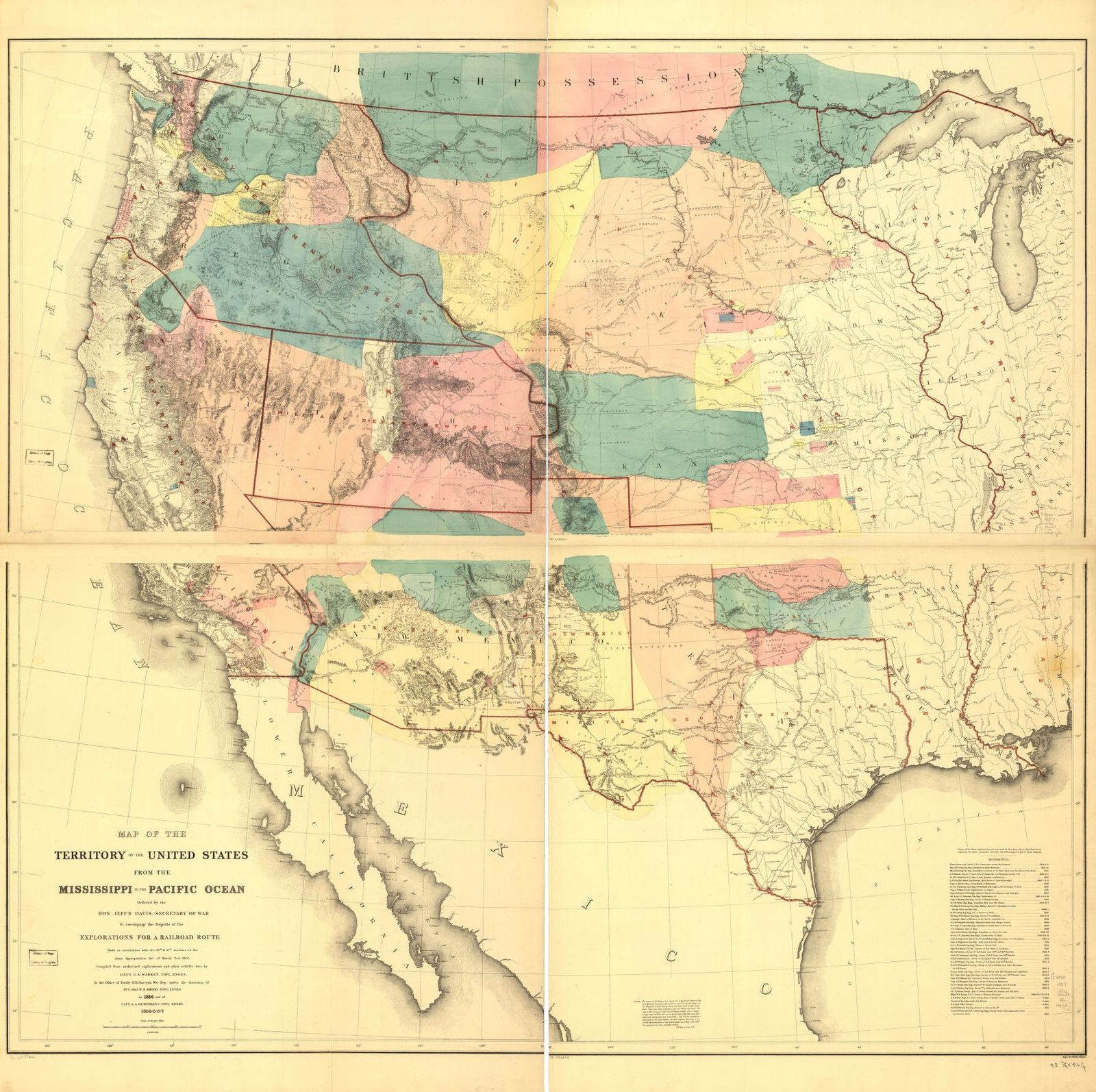 Map of the territory of the United States from the Mississippi to the Pacific Ocean; ordered by Jeff'n Davis, Secretary of War to accompany the reports of the explorations for a railroad route.