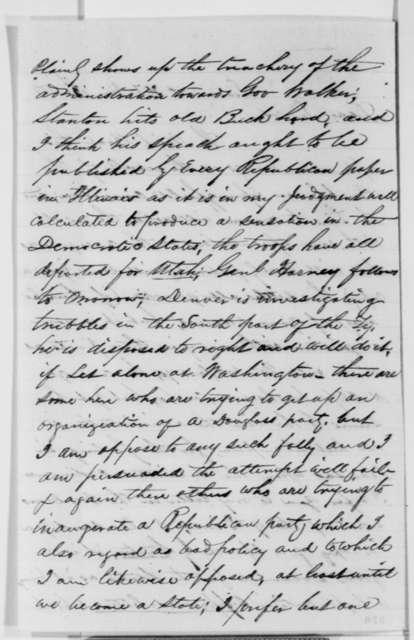 Mark W. Delahay to Abraham Lincoln, Sunday, June 13, 1858  (Kansas politics)