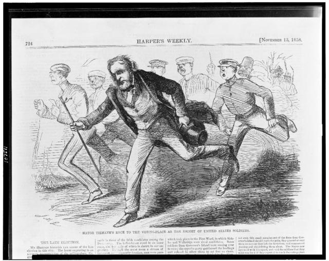 Mayor's Tiemann's race to the voting-place as the escort of United States soldiers / J.M.L.