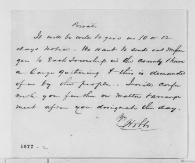 McClean County Illinois Republicans to Abraham Lincoln, Tuesday, July 27, 1858  (Invitation; with note from W. C. Hobbs to Lincoln)
