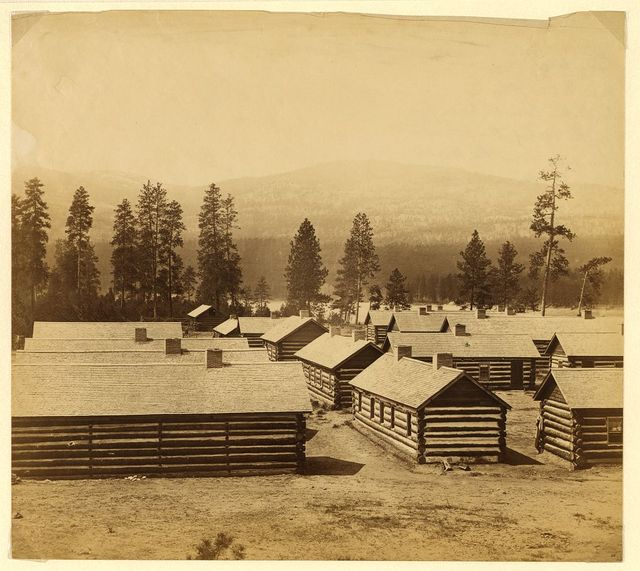 No. 2, log huts, winter quarters of the Br. N. Am. Boundary Commission on the banks of the Columbia two miles above the Hudson Bay Cos. post at Colville