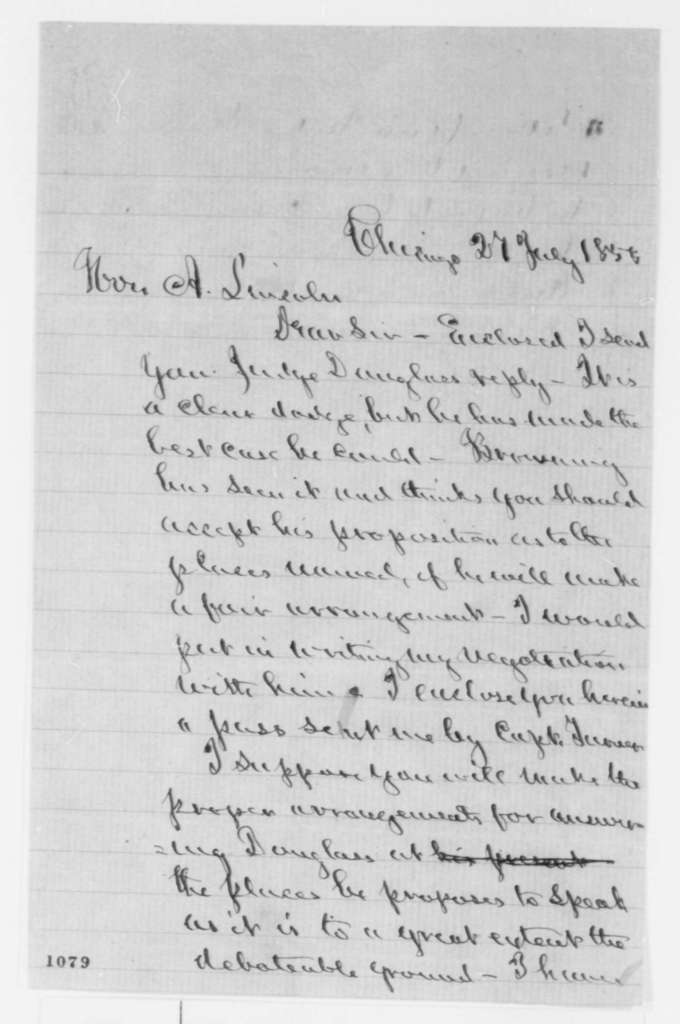Norman B. Judd to Abraham Lincoln, Tuesday, July 27, 1858  (Debates)