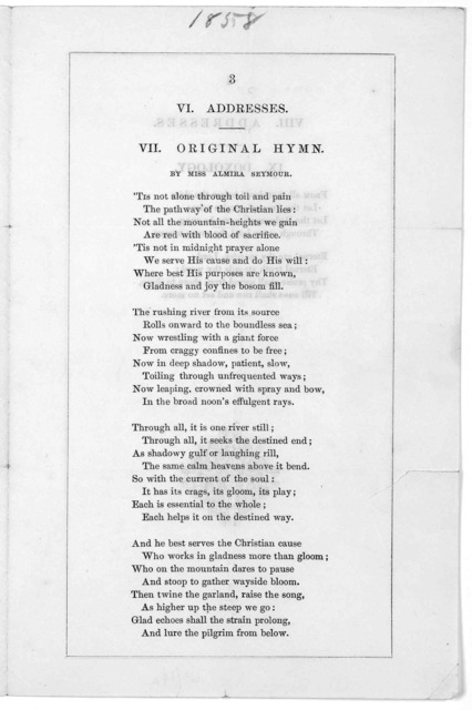 Order of exercises at the Unitarian festival. Faneuil hall, Tuesday, May 25, 1858. [Boston, 1858].