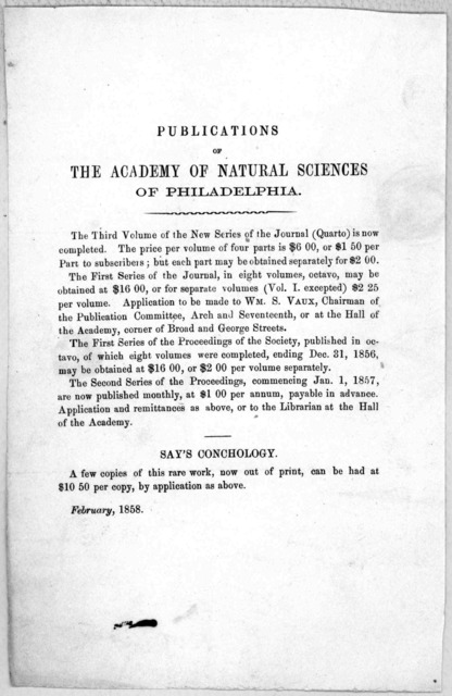 Publications of the Academy of natural sciences of Philadelphia ... [Philadelphia] February 1858.