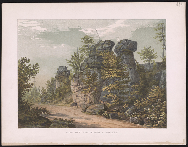 Pulpit Rocks, Warrior Ridge, Huntingdon Co. / Lehman ; printed in colours by W. & A.K. Johnston, Edinburgh.