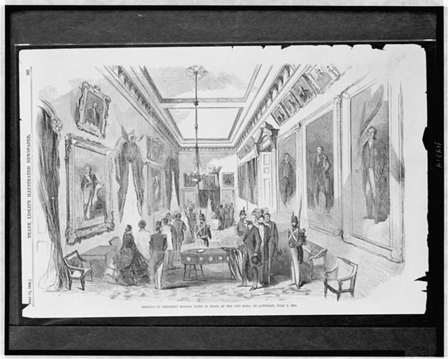 Remains of President Monroe lying in state at the City Hall on Saturday, July 3, 1858