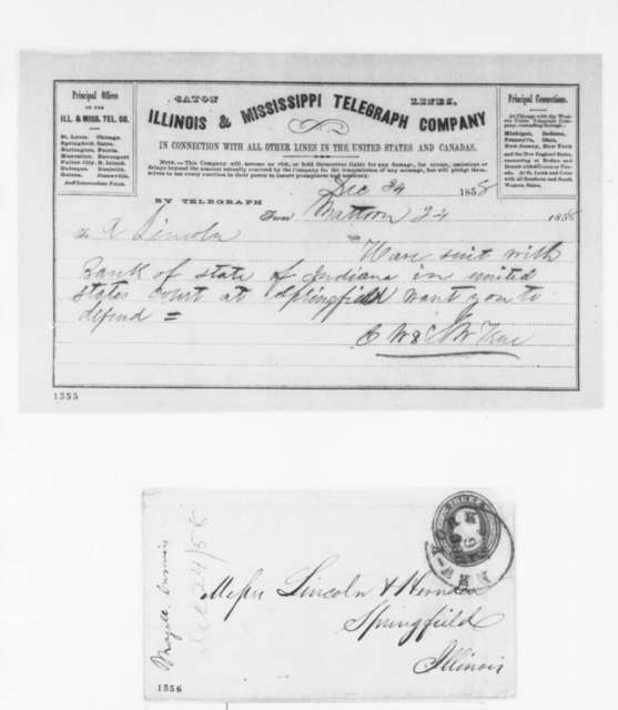 S. W. True and E. W. True to Abraham Lincoln, Friday, December 24, 1858  (Telegram; legal matters)