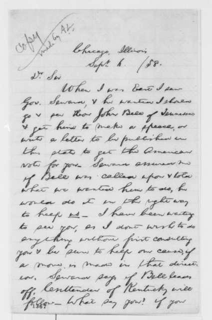 Samuel L. Baker to Abraham Lincoln, Monday, September 06, 1858  (John Bell and Lincoln's Senate campaign; copy in Lincoln's hand)