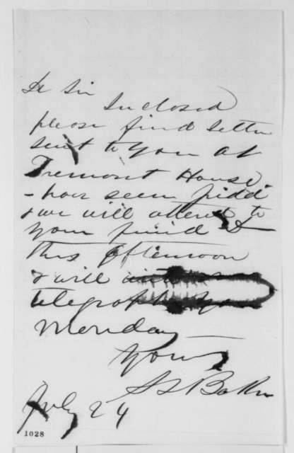 Samuel L. Baker to Unknown, Saturday, July 24, 1858  (Cover letter)