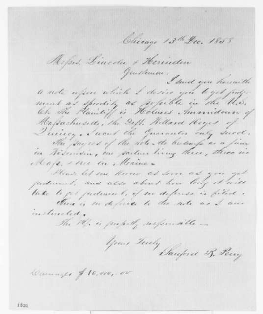 Sanford B. Perry to Lincoln & Herndon, Monday, December 13, 1858  (Legal matters)