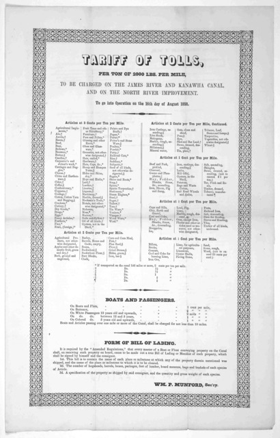 Tariff of tolls, per ton of 2000 lbs per mile, to be charged on the James River and Kanawha canal, and on the North River improvement. To go into operation on the 16th day of August 1858.