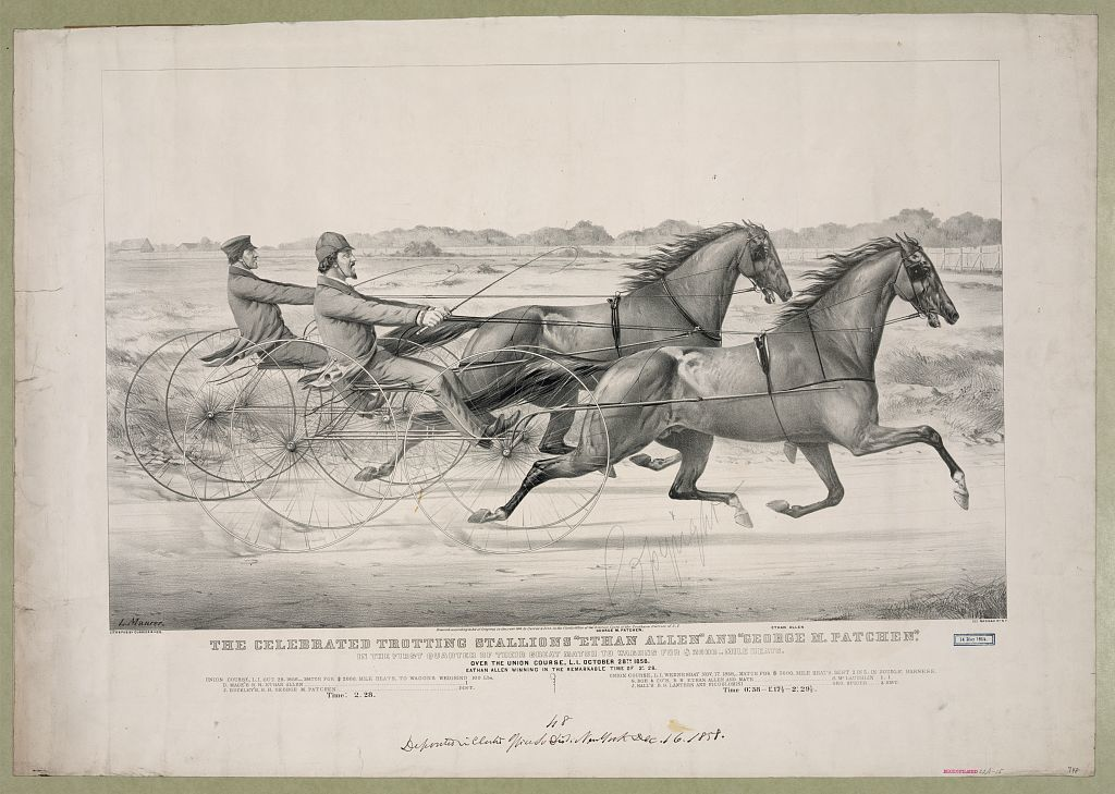 """The celebrated trotting Stallions """"Ethan Allen"""" and """"George M. Patchen"""": In the first quarter of their great match to Wagons for $2000-mile heats. Over the Union Course, L.I. October 28th 1858. Eathan Allen winning in the remarkable time of 2:28"""