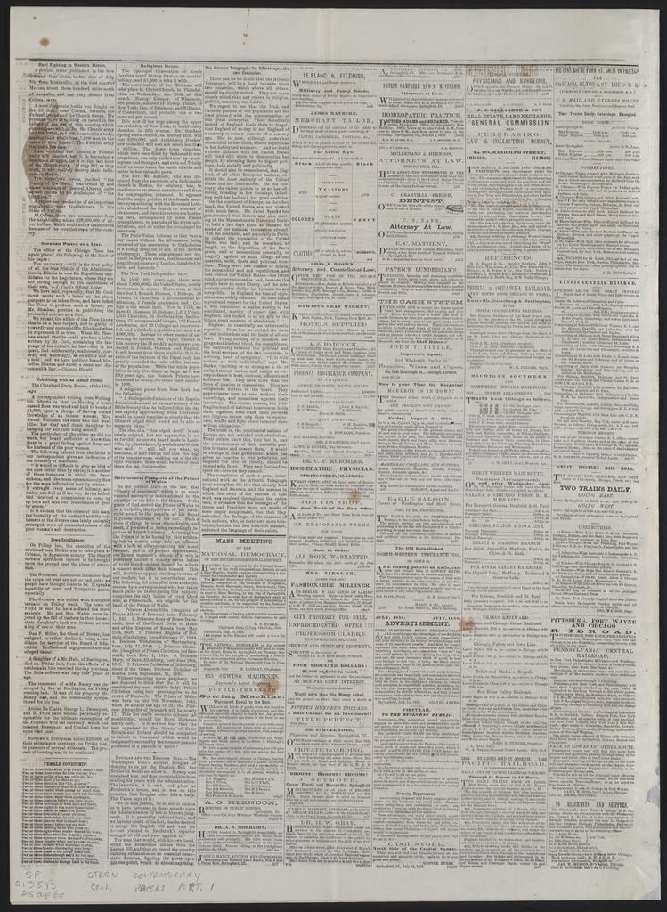 The Illinois State Democrat, [newspaper]. August 25, 1858.