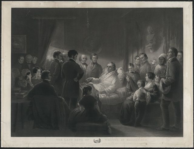 The last days of Webster at Marshfield / engraved by C. Mottram after painting by Joseph Ames.