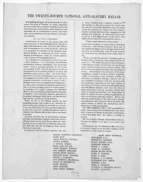 The undersigned again call on all interested in their cause,- the cause of freedom, so deeply important not only to the three millions of American slaves, but to the American nation ... for immediate aid, by contributions of money and materials,