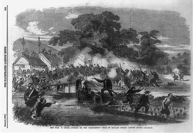 """The war in China - attack on the """"Banterer's"""" boat in Sai-Lau Creek, Canton River"""