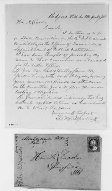 Thomas M. Killpatrick to Abraham Lincoln, Wednesday, June 02, 1858  (Solicitation)