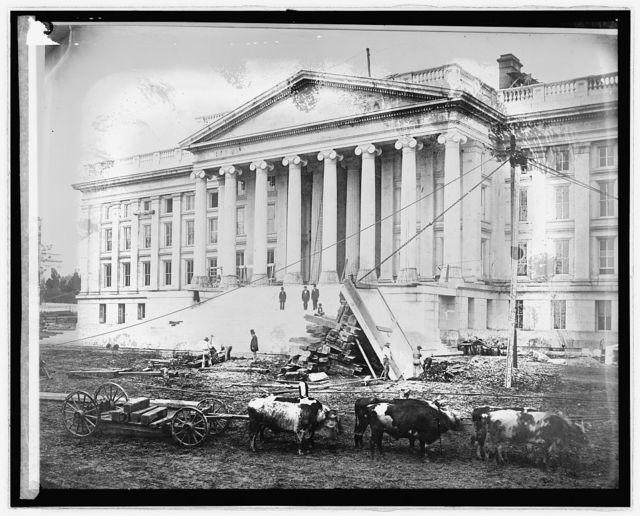 Treasury Dept. (old print): Construction of Treasury, [Washington, D.C.], Feb. 3, 1858