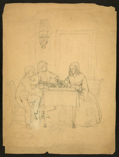 [Two children playing checkers or draughts] War roll of the Weccacoe Fire Company, always useful - fireman in peace - soldiers in war.