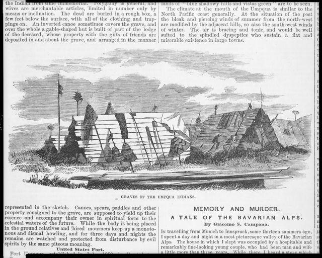 """[Umpqua Indians of Oregon Territory: """"graves of the Umpqua Indians""""]"""