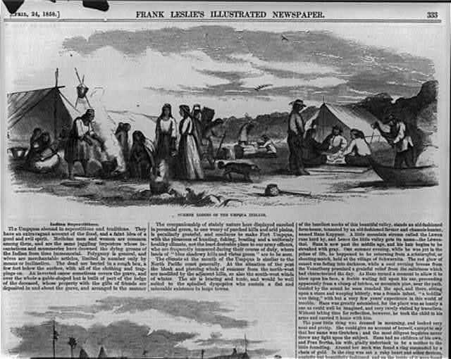 "[Umpqua Indians of Oregon Territory: ""summer lodges of the Umpqua Indians""]"