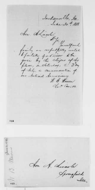 William B. Warren to Abraham Lincoln, Wednesday, June 30, 1858  (Invitation)