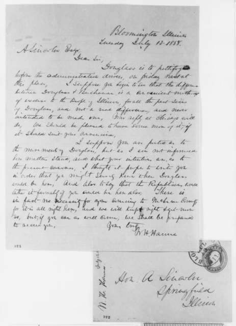 William H. Hanna to Abraham Lincoln, Tuesday, July 13, 1858  (Senate)
