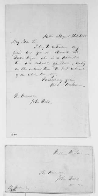 William H. Seward to John Bell, Tuesday, August 24, 1858  (Introduction)