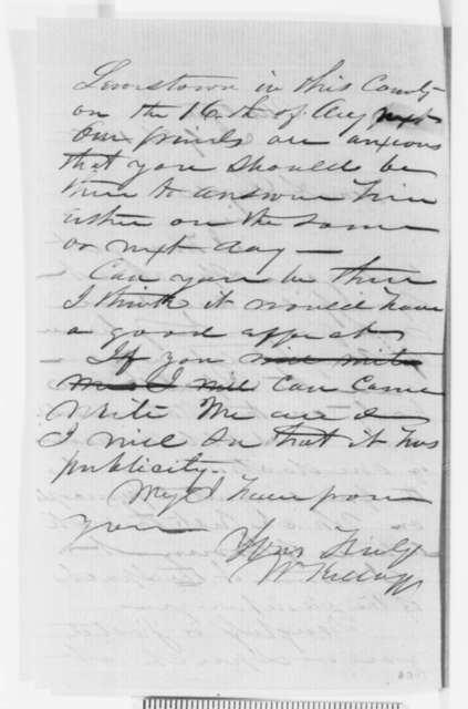 William Kellogg to Abraham Lincoln, Monday, July 26, 1858  (Invitation)