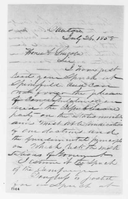 William Kellogg to Abraham Lincoln, Monday, July 26, 1858  (Invitation)