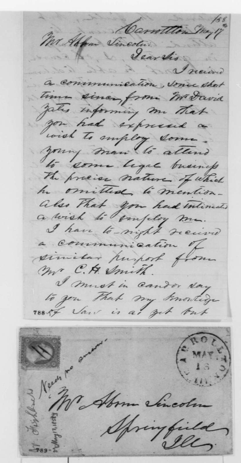 William M. Fishback to Abraham Lincoln, Monday, May 17, 1858  (Application)