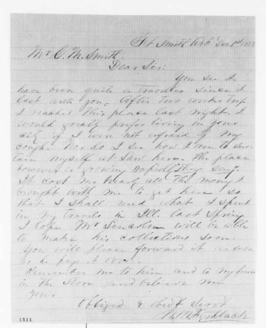 William M. Fishback to Clark M. Smith, Wednesday, December 01, 1858  (Legal)