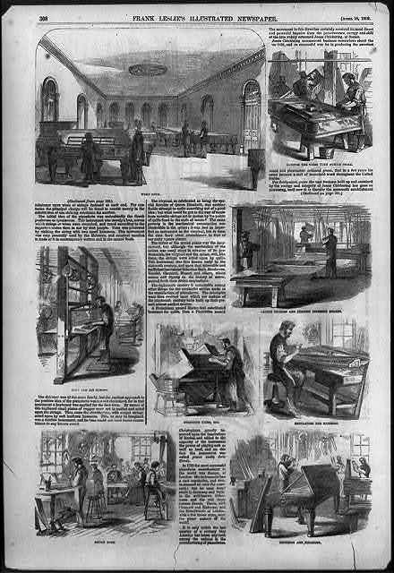 [8 views of operations in Chickering's Pianoforte Manufactory, Tremont Street, Boston, Mass.]