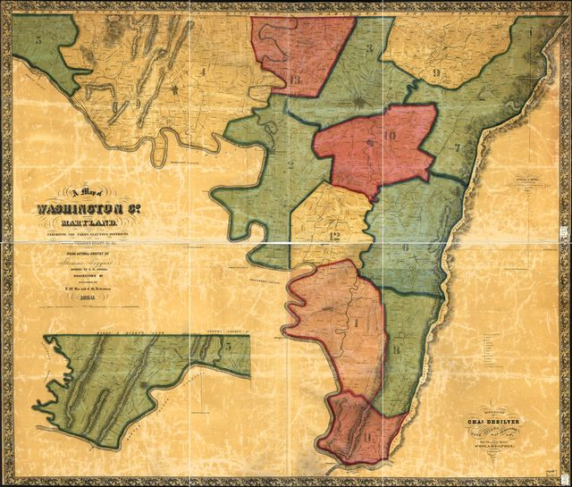 A map of Washington Co., Maryland. Exhibiting the farms, election districts, towns, villages, roads, etc., etc.