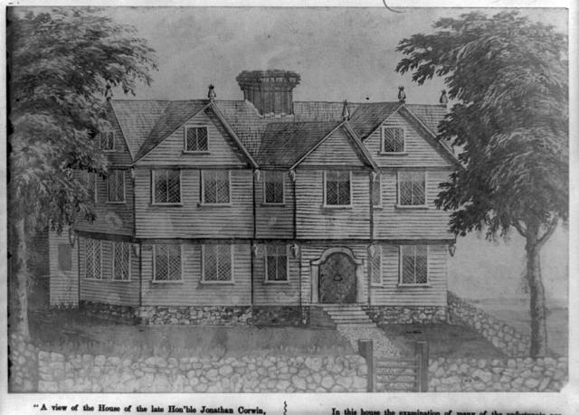 A View of the house of the late Hon'ble Jonathan Corwin (Judge of the Supreme Court of Massachusets [sic] and member of the council appointed in the new charter, May, 1692). Erected 1642, by Cap't. Geo. Corwin