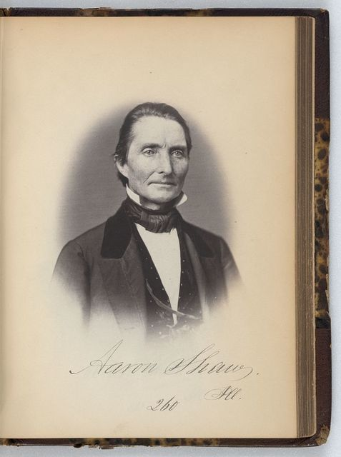 [Aaron Shaw, Representative from Illinois, Thirty-fifth Congress, half-length portrait]