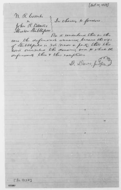 [Abraham Lincoln], [October 14, 1859]  (Bill of Exceptions in case of William R. Coombs [Combs] vs. John R. Blount and Absalom Stubblefield; signed by David Davis)