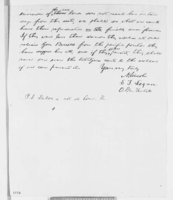 Abraham Lincoln, Stephen T. Logan, and Ozias M. Hatch to James Miller, Monday, July 11, 1859  (Macalister and Stebbins bonds)