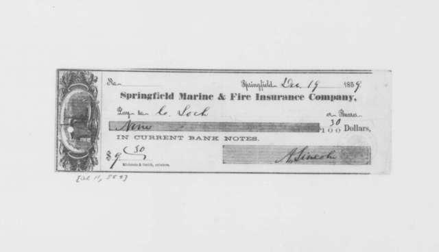 Abraham Lincoln to C. Loch, Monday, December 19, 1859  (Check)