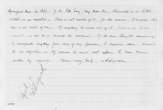 Abraham Lincoln to Jesse W. Fell, Tuesday, December 20, 1859  (Cover letter for autobiography)