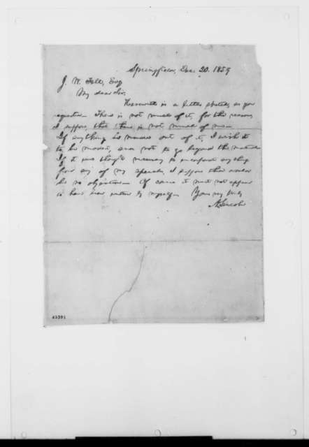 Abraham Lincoln to Jesse W. Fell, Tuesday, December 20, 1859  (Sends autobiographical sketch [Original of cover letter only; transcription of cover letter and sketch provided])