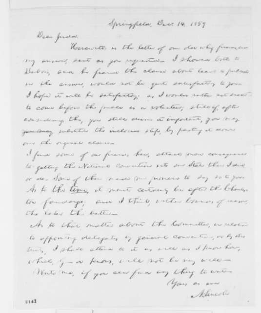 Abraham Lincoln to Norman B. Judd, Wednesday, December 14, 1859  (Cover letter; Republican convention)