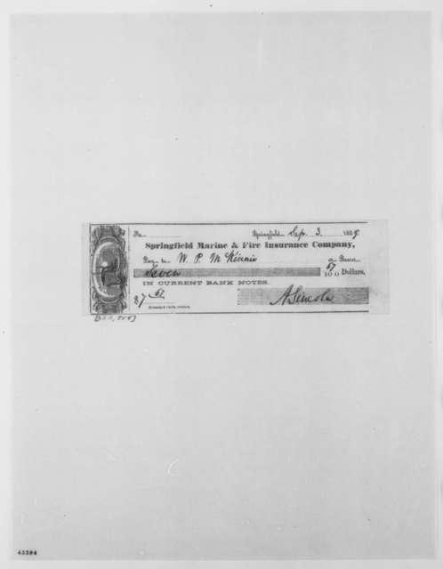 Abraham Lincoln to W. P. McKinnie, Saturday, September 03, 1859  (Check)